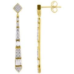 TJD 3/4Carat Round & Baguette Diamond 14K Yellow Gold Vertical Bar Drop Earrings