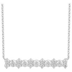 TJD 0.75 Carat Diamond 14 Karat White Gold Diamond Stunning Bar Necklace