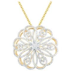 TJD 0.75 Carat Diamond 14 Karat Yellow Gold Filigree Floral Pendant