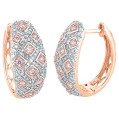 TJD 0.75 Carat Nat. Pink Rosé & White Diamond 18K Rose Gold Huggie Hoop Earrings