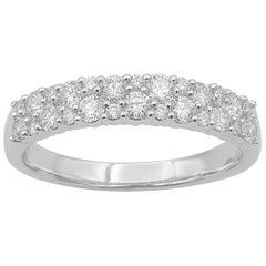 TJD 0.75 Carat Round Diamond 14 Karat White Gold Two Row Wedding Band Ring