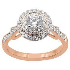 TJD 0.75 Carat Round Diamond 18 Karat Rose Gold Halo Engagement Ring