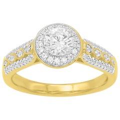 TJD 0.75 Carat Round Diamond 18 Karat Yellow Gold Engagement Wedding Ring