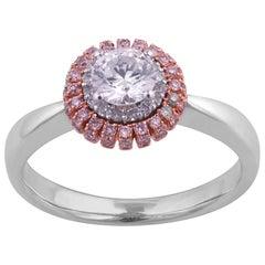 TJD 0.75 Carat Nat. Pink Rosé & White Diamond 14K Two-Toned Gold Engagement Ring