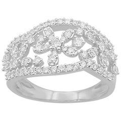 TJD 0.75 Carat Round Diamond 14 Karat White Gold Floral Design Wedding Band Ring