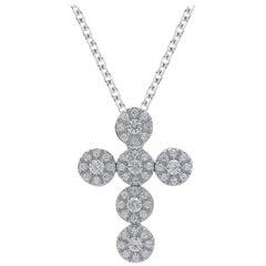 TJD 0.75 Carat Round Diamond 14 Kt White Gold Religious Cross Pendant with Chain