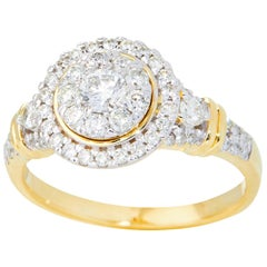 TJD 0.75 Carat Round Diamond 14 Karat Yellow Gold Halo Cluster Engagement Ring