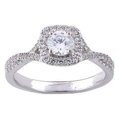 TJD 0.75 Carat Round Diamond 18 Karat White Gold Halo Engagement Wedding Ring