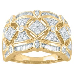 TJD 0.75Carat Round & Baguette Diamond 14 Karat Yellow Gold Geometric Shape Ring