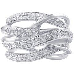 TJD 0.76 Carat Diamond 14 Karat White Gold Wavy Cocktail Ring