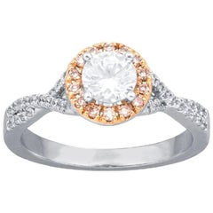 TJD 0.86Carat Nat. Pink Rosé & White Diamond 18K White Gold Halo Engagement Ring