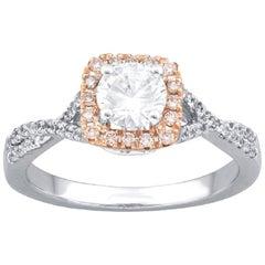 TJD 0.87 Carat Nat. Pink Rosé & White Diamond 18K Two Tone Gold Engagement Ring