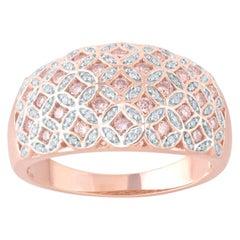 TJD 1/2 Carat Pink and White Diamond 18 Karat Rose Gold Floral Wide Wedding Band