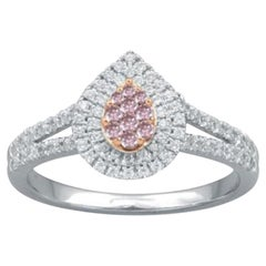 TJD 1/2Ct Nat. Pink Rosé/White Diamond 18K White Gold Pear Shape Engagement Ring