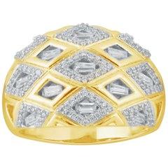 TJD 1/2Carat Round/Baguette Diamond 14k Yellow Dome Shape Art Deco Style Ring
