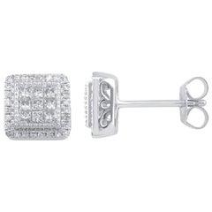 TJD 1/2Carat Round/Princess Cut Diamond 14K WhiteGold Square Frame Stud Earrings