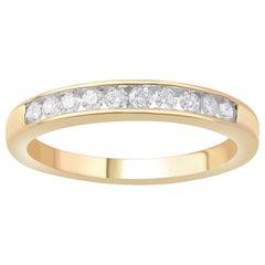 TJD 1/4 Carat Round Diamond 10 Karat Yellow Gold Channel Set Wedding Band