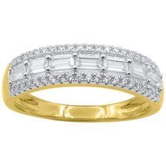 TJD 1 Carat Baguette and Round Diamond 14K Gold Triple Row Wedding Band Ring
