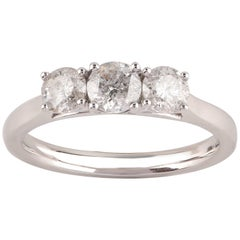 TJD 1.00 Carat Diamond 14 Karat White Gold  Classic 3-Stone Engagement Ring