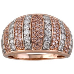 TJD 1 Carat Pink and White Diamond 18K Gold Dome Shape Wide Wedding Band Ring