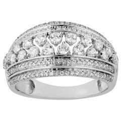 TJD 1 Carat Diamond 14 Karat Gold Art Deco Style Multi Row Wedding Band