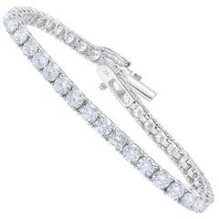 TJD 10 Carat Diamond 18 Karat White Gold Four Prong Classic Tennis Bracelet