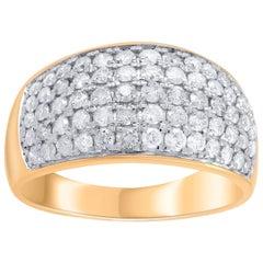 TJD 1.00 Carat Diamond 10 Karat Yellow Gold Multi-Row Bridal Ring