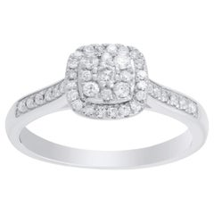 TJD 1/3 Carat Brilliant Cut Diamond 10 Karat White Gold Engagement Ring