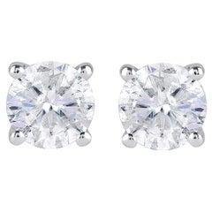 TJD 0.80 Carats Solitaire Diamond 10 Karat White Gold Stud Earrings