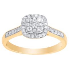 TJD 1/3 Carat Diamond 10 Karat Yellow Gold Cushion Cluster Engagement Ring