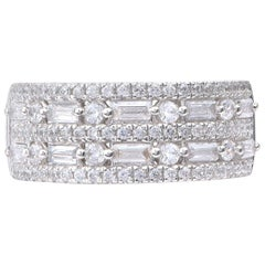 TJD 1 Carat Baguette and Round Diamond 18K White Gold Anniversary/Wedding Band