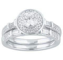 TJD 1.00 Carat Round & Baguette Diamond 18 Karat White Gold Halo Bridal Ring Set