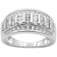 TJD 1.00 Carat Round and Baguette Diamond 14 Karat White Gold Wedding Band Ring