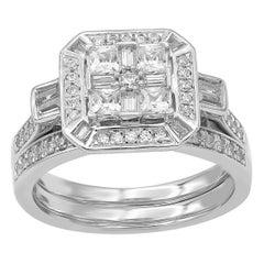 TJD 1.00 Carat Round and Baguette Diamond 14 Karat White Gold Bridal Set Ring