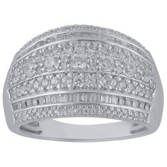 TJD 1Carat Round and Baguette Diamond 14 Karat White Gold Multi-Row wedding Band