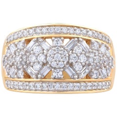 TJD 1.00Carat Round and Baguette Diamond 18 K Yellow Gold Composite Wedding Band