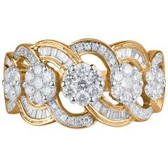 TJD 1.00 Carat Round and Baguette Diamond 10 Karat Yellow Gold Wave Wedding Ring