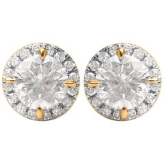 TJD 1.00 Carat Brilliant Cut 10 Karat Yellow Gold Diamond Stud Earrings