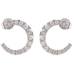 TJD 1.00 Carat Brilliant Cut 14 Karat White Gold Diamond Earrings