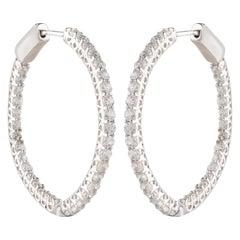 TJD 1.00 Carat Brilliant Cut 18 Karat White Gold Diamond Hoop Earrings