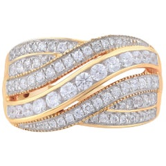 TJD 1.00 Carat Brilliant Cut 18 Karat Yellow Gold Diamond Wedding Band