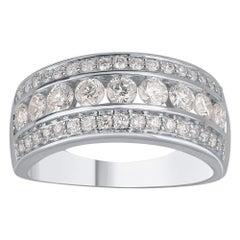 TJD 1.00 Carat Diamond 18 Karat White Gold 3-Row Classic Wedding Band