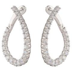 TJD 1.00 Carat Brilliant Cut Diamond 18 Karat White Gold Hoop Earrings