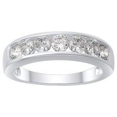 TJD 1.00 Carat Brilliant Cut Diamond 18 Karat White Gold Wedding Band