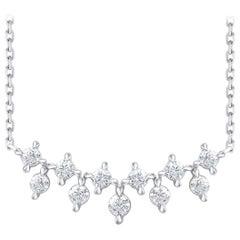TJD 1.00 Carat Diamond 18 Karat White Gold Charm Necklace with 18 inch chain