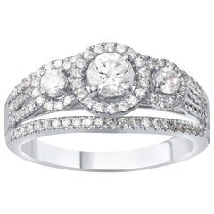 TJD 1.00 Carat Diamond 18 Karat White Gold 3 Stone Multi Row Engagement Ring