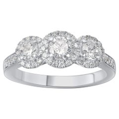 TJD 1.00 Carat Round Diamond 18 K White Gold 3 Stone Vintage Engagement Ring