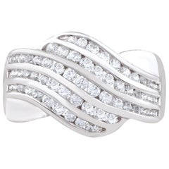 TJD 1.00 Carat Diamond 18 Karat White Gold Vintage Style Crossover Ring