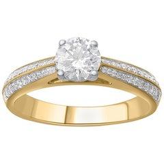 TJD 1.00 Carat Brilliant Diamond 18 Karat Yellow Gold Engagement Ring