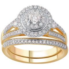 TJD 0.75 Carat Diamond 14 Karat Yellow Gold Split Shank Designer Bridal Ring